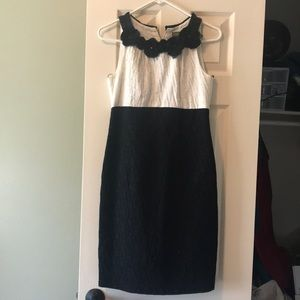 Black and white high neck dress